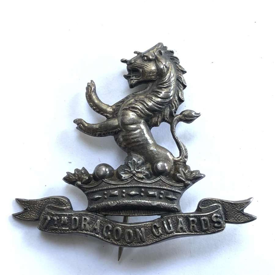 7th Dragoon Guards silver HM cap badge by Bent & Parker