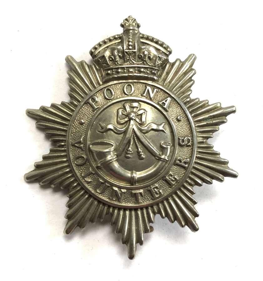 Indian Army. Poona Volunteer Rifles Victorian pagri badge